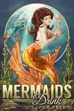 Mermaids Drink for Free Signe en plastique rigide par  Lantern Press