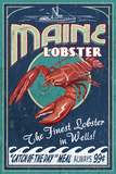 Wells, Maine - Lobster Boat - Vintage Sign Plastic Sign by  Lantern Press