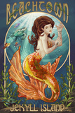 Beachtown - Jekyll Island, Georgia - Mermaid Plastic Sign by  Lantern Press