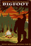 Rocky Mountain National Park - Home of Bigfoot Wall Mural by  Lantern Press
