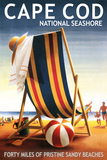 Cape Cod National Seashore - Beach Chair and Ball Plastic Sign by  Lantern Press