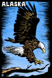 Alaska - Bald Eagle - Scratchboard Wall Mural by  Lantern Press