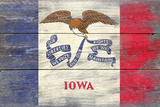 Iowa State Flag - Barnwood Painting Plastic Sign by  Lantern Press