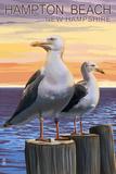 Hampton Beach, New Hampshire - Seagull Plastic Sign by  Lantern Press