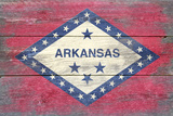 Arkansas State Flag - Barnwood Painting Plastic Sign by  Lantern Press