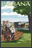 Indiana - Amish Farm Scene Plastic Sign by  Lantern Press