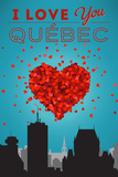 I love you Quebec, Canada Plastic Sign by  Lantern Press
