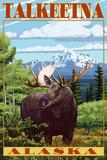 Talkeetna, Alaska - Moose Scene Plastic Sign by  Lantern Press
