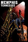 Memphis, Tennesse - Jazz Scene Scratchboard Plastic Sign by  Lantern Press