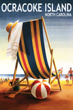 Ocracoke, North Carolina - Beach Chair and Ball Plastic Sign by  Lantern Press
