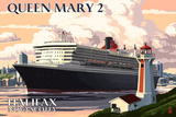 Queen Mary 2 - Halifax, Nova Scotia Plastic Sign by  Lantern Press