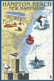Hampton Beach, New Hampshire - Nautical Chart Plastic Sign by  Lantern Press