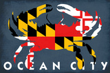 Ocean City, Maryland - Maryland Flag Crab Plastic Sign by  Lantern Press