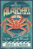 Kodiak, Alaska - King Crab Vintage Sign Plastic Sign by  Lantern Press