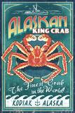 Kodiak, Alaska - King Crab Vintage Sign Plastic Sign by  Lantern Press