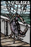 Alaska - Dungeness Crab - Scratchboard Plastic Sign by  Lantern Press