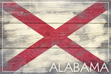 Alabama State Flag - Barnwood Painting Plastic Sign by  Lantern Press