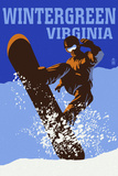 Wintergreen, Virginia - Colorblocked Snowboarder Plastic Sign by  Lantern Press