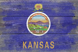 Kansas State Flag - Barnwood Painting Plastic Sign by  Lantern Press