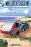 Chincoteague, Virginia - Retro Camper on Beach Plastic Sign by  Lantern Press
