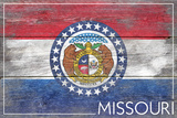 Missouri State Flag - Barnwood Painting Plastic Sign by  Lantern Press