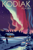 Kodiak, Alaska - Northern Lights and Cabin Plastic Sign by  Lantern Press