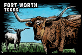 Fort Worth, Texas - Longhorn - Scratchboard Plastic Sign by  Lantern Press