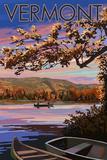 Bridges of Vermont - Lake at Dusk Plastic Sign by  Lantern Press