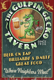 Gecko Tavern - Vintage Sign Plastic Sign by  Lantern Press