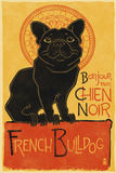 French Bulldog - Retro Chien Noir Ad Plastic Sign by  Lantern Press