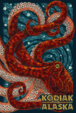 Kodiak, Alaska - Octopus Mosaic Plastic Sign by  Lantern Press
