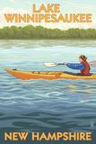 Lake Winnipesaukee, New Hampshire - Kayak Scene Plastic Sign by  Lantern Press