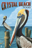 Crystal Beach, Texas - Pelicans Plastic Sign by  Lantern Press