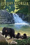 Ellijay, Georgia - Bear Family and Waterfall Plastic Sign by  Lantern Press