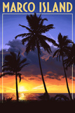 Marco Island - Palms and Sunset Wall Mural by  Lantern Press