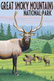 Great Smoky Mountains National Park - Elk Herd Plastic Sign by  Lantern Press