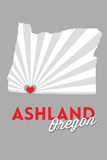 Ashland, Oregon - State with Red Heart Plastic Sign by  Lantern Press