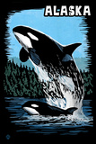 Alaska - Orca - Scratchboard Znaki plastikowe autor Lantern Press