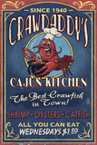 Crawfish - Vintage Sign Plastic Sign by  Lantern Press