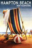 Hampton Beach, New Hampshire - Beach Chair and Ball Plastic Sign by  Lantern Press