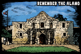 Remember the Alamo - Scratchboard Plastic Sign by  Lantern Press