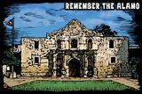 Remember the Alamo - Scratchboard Plastic Sign by  Lantern Press