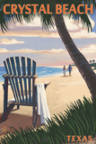 Crystal Beach, Texas - Adirondack Chair on the Beach Plastic Sign by  Lantern Press