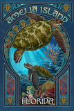 Amelia Island, Florida - Sea Turtle Art Nouveau Plastic Sign by  Lantern Press
