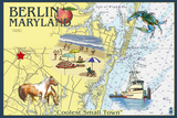 Berlin, Maryland - Nautical Chart Plastic Sign by  Lantern Press