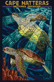 Cape Hatteras National Seashore - Sea Turtle Mosaic Plastic Sign by  Lantern Press