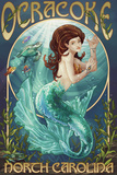 Ocracoke, North Carolina - Mermaid Plastic Sign by  Lantern Press