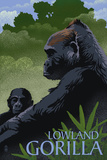 Lowland Gorilla - Lithograph Series Plastikskilte af Lantern Press