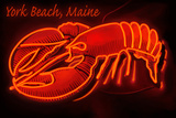 York Beach, Maine - Neon Lobster Sign Plastic Sign by  Lantern Press