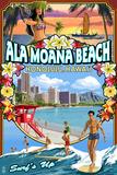 Ala Moana Beach - Honolulu, Hawai'i - Montage Scene Plastic Sign by  Lantern Press